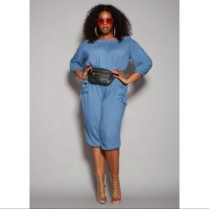 Ashley Stewart Blue Gina Off the Shoulder Jumpsuit